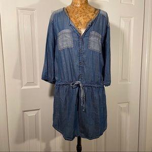 MichaelStar's DenimV-neck Button Down Shirt Dress.